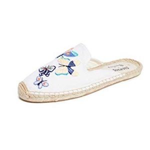 Soludos Butterflies Mules White 8